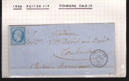 France - Lettre N° 14 Obl. - 1858 - Losange 1136 / Dourgne / Toulouse - 1849-1876: Klassik