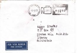 Italy 1993 Registered Cover Sent To Australia Machine Postmark In Black - 6. 1946-.. Republic