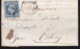 France - Lettre N° 14 Obl. - 1857 - Losange 2063 / Montauban / Cette A Bordeaux / Cadillac - 1849-1876: Classic Period