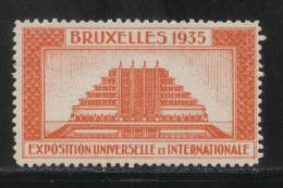 BELGIUM 1935 BRUSSELS INTERNATIONAL & UNIVERSAL EXPOSITION ORANGE POSTER STAMP CINDERELLA - Erinnofilia