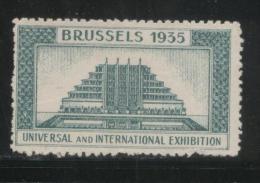 BELGIUM 1935 BRUSSELS INTERNATIONAL & UNIVERSAL EXPOSITION GREEN POSTER STAMP CINDERELLA - Erinnofilia