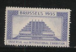BELGIUM 1935 BRUSSELS INTERNATIONAL & UNIVERSAL EXPOSITION VIOLET POSTER STAMP CINDERELLA - Erinnofilia