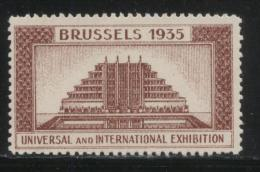 BELGIUM 1935 BRUSSELS INTERNATIONAL & UNIVERSAL EXPOSITION BROWN POSTER STAMP CINDERELLA - Erinnofilia