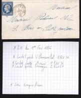 France - Lettre N° 14 Obl. - 1856 - Losange / Villeneuve Sur Lot / Agen / Damazan - 1849-1876: Klassik