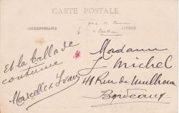 ETOILE ROUGE - Marque De CENSURE De BORDEAUX GIRONDE Sur CP De ST JEAN DE LUZ  Affrt Semeuse 138 - Basses Pyrénées - WW1 (I Guerra Mundial)