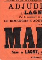VP898 - LAGNY 1907 - étude Me BOISSEAU Vente D´une Maison à LAGNY Rue De Laval N° 7 - Posters