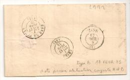 PASSE 2188 LE MANS Type B Au VERSO Lettre Cérès  SABLE S SARTHE - 1877-1920: Periodo Semi Moderno