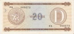 BILLETE DE CUBA DE 20 PESOS SERIE D CON RESELLO ESPACIO INUTILIZADO   (BANKNOTE-BANK NOTE) - Cuba