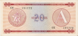 BILLETE DE CUBA DE 20 PESOS SERIE A   (BANKNOTE-BANK NOTE) - Cuba