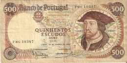 BILLETE DE PORTUGAL DE 500 ESCUDOS  DEL AÑO 1966  (BANKNOTE-BANK NOTE) - Portugal