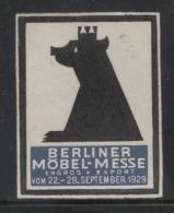 GERMANY 1929 RARE BERLIN FURNITURE EXPOSITION NO GUM POSTER STAMP REKLAMENMARKEN ERINOPHILATELIE BEAR - Neufs