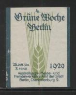 GERMANY 1929 BERLIN 4TH GREEN WEEK NO GUM POSTER STAMP REKLAMENMARKEN ERINOPHILATELIE - Neufs