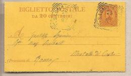 Italia - Biglietto Postale Usato: Bigola Valore Da 20 Cent. - 1889 - 1878-00 Umberto I