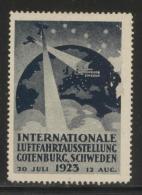 SWEDEN 1923 GOTHENBURG INTERNATIONAL AVIATION EXHIBITION NO GUM POSTER STAMP NHM CINDERELLA ERINOPHILATELIE AIRCRAFT - Sweden