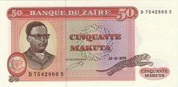 BILLET # ZAIRE # 1979 # 50 MAKUTA # PICK 17 #  NEUF # - Zaire