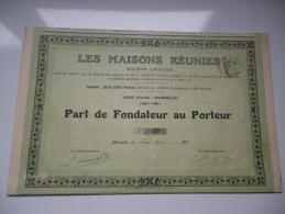 LES MAISONS REUNIES (1911) MARSEILLE - Actions & Titres