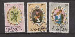 Samoa 1981 Charles & Diana Royal Wedding Set 3 FU - Samoa