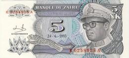 BILLET # ZAIRE # 1993 # 5 NOUVEAU MAKUTA  # PICK 48 #  NEUF # - Zaire