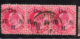 India 1902-09 King Edward VII Overprinted  Blk Of 3 Used - India (...-1947)