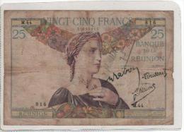 Reunion Very Rare 25 Francs N\D Circulite Acet Paypal - Réunion