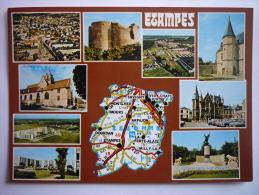 Etampes ( 91 ) Carte Geographique De L'essone ( D'apres La Carte Michelin N°989 ) - Etampes