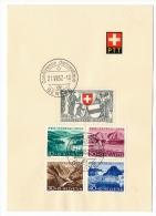 SUISSE - 2 Feuillets PTT Séries Pro Juventute 1952 Et 1953 - Conférence Diplomatique / Poste Automobile - Suisse