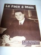 @ N° 3 03/03/1945 LE FACE A MAIN M. LEO MUNDELEER MINISTRE DE LA DEFENSE NATIONALE - Histoire