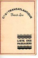 LISTE DES PASSAGERS  Paquebot S.S. ILE DE FRANCE Havre Plymouth New York 1930 - Vieux Papiers