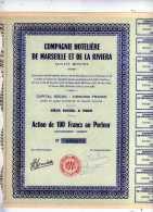 ACTION  COMPAGNIE HOTELIERE DE MARSEILLE ET DE LA RIVIERA 1948 - Tourisme