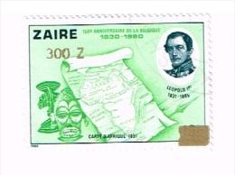 Congo - Zaïre - 150ème Anniversaire  De La Belgique - Timbre 1066 De 10K Surchargé 300 Zaïres - Zaïre