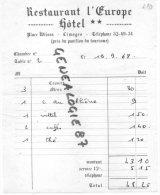 "87 - LIMOGES -  MENU RESTAURANT "" L' EUROPE  ""  HOTEL - PLACE WILSON - 1968 - Menus"