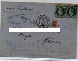 Isolato Annullo Marseille Marsiglia Per Genova Via Di Mare Louis Barras  Etichetta Publicità Al Retro - 1863-1870 Napoleone III Con Gli Allori
