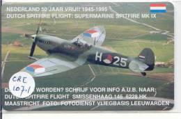 NEDERLAND (CRE-107.1) SPITFIRE AIRPLANE AVION UNBENUTZT Pays-Bas Telecarte  Phonecard Telefonkarte Niederlande - Flugzeuge