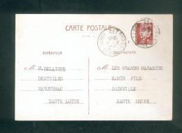 Entier Postal Carte Commerciale 1F20 Type Petain Delaigue Dentelles Retournac  à Confection Hanin Joinville 1942 - Entiers Postaux