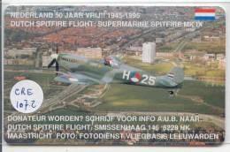NEDERLAND (CRE-107.2) SPITFIRE AIRPLANE AVION UNBENUTZT Pays-Bas Telecarte  Phonecard Telefonkarte Niederlande - Holland - Airplanes
