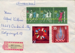 Germany DDR 1974 Registered Cover With Strip 5+10+35 Pf. Fieldball Championships + 20 Pf. Comecon + 35 Pf. Human Rights - Pallamano