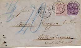 Württ.-GA 5 Pfennig M.Zus.Frank. Mi.Nr.45, 1880, Wurmlingen N.Wellendingen Via Rottweil - Wuerttemberg