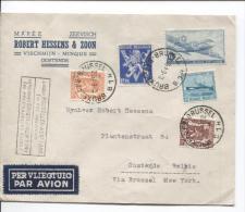 Poste Aérienne 1°Liaison Bruxelles-New-York 1° Vol Américain C.Bxl 12/6/46 S/L.com.R.Hessens Oostende AP522 - Poststempel