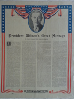 AFFICHE ORIGINALE - PRESIDENT WILSON 'S GREAT MESSAGE- SESSION OF THE CONGRESS WASHINGTON-2 APRIL 1917 - Affiches