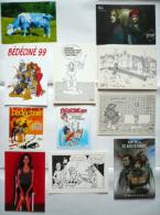 Lot 8 CP + 2 Autocollants BD  (WALTHÉRY, MARINI, BILAL, CAFFA, LEROUGE.../ TBE - Cartes Postales
