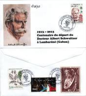 Cachet Temporaire Officiel Albert SCHWEITZER Expo KAYSERSBERG 100 Ans Départ Gabon 06/50 - Albert Schweitzer
