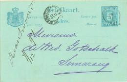 NED. INDIE * HANDGESCHREVEN BRIEFKAART Uit 1891  Naar SEMARANG (8313m) - Indes Néerlandaises