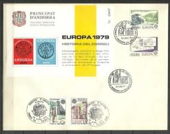 ANDORRA-  SOBRE O SIMILAR CON LAS DOS SERIES EUROPA 70 + LA HOJITA DE LA VEGUERA MATASELLOS DE P.D. (CASILLERO) - FDC