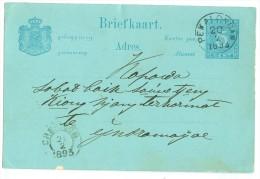 NED. INDIE * HANDGESCHREVEN BRIEFKAART Uit 1893 Van PEKALONGAN Via CHERIBON Naar INDRAMAJOE (8314a) - Indes Néerlandaises