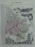 33 - BORDEAUX -  GIRONDE - MONTESQUIEU NE A LA BREDE- BERQUIN 1749-CARTE DRESSEE PAR A. VUILLEMNIN GEOGRAPHE - 1862 - Cartes Géographiques