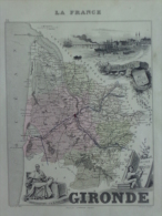 33 - BORDEAUX -  GIRONDE - MONTESQUIEU NE A LA BREDE- BERQUIN 1749-CARTE DRESSEE PAR A. VUILLEMNIN GEOGRAPHE - 1862 - Geographical Maps