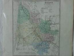 33 - BORDEAUX -  GIRONDE - CARTE GEOGRAPHIQUE LIBRAIRIE ABEL PILON- A. LE VASSEUR    VERS 1860 - Geographical Maps