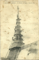 76 BLANGY SUR BRESLE TRAVAUX POSE DU COQ AU CLOCHER EGLISE 1918  ANIMATION  JOLI PLAN - Blangy-sur-Bresle