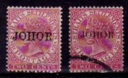 (199) Malaysia / Malaisie / Johore  Quqeen Overprints / Surcharges  * / Mh / Oo  Michel 3V + 3II - Malaysia (1964-...)