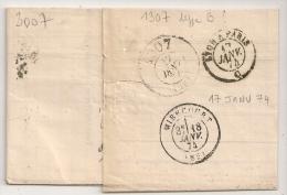 PASSE 1307 DIJON Type B Au VERSO Lettre Cérès 40c GARE DE LYON + Losange L P - 1849-1876: Periodo Clásico